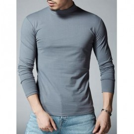 image of MOCK NECK STRETCH LONG SLEEVE TEE (DEEP GRAY) L