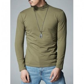 image of MOCK NECK STRETCH LONG SLEEVE TEE (ARMY GREEN) L