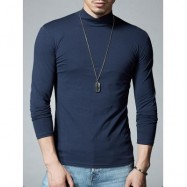 image of MOCK NECK STRETCH LONG SLEEVE TEE (CADETBLUE) L