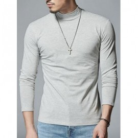 image of MOCK NECK STRETCH LONG SLEEVE TEE (LIGHT GRAY) L