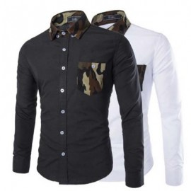 image of SIMPLE DESIGN CAMOUFLAGE DECORATION LONG SLEEVE BUSINESS SHIRT FOR MALE L