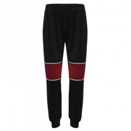 image of CASUAL PATCHWORK ZIPPER DESIGN MALE ELASTIC BAND LONG SPORTS PANTS (BLACK) L