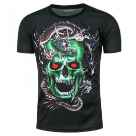 image of 3D DRAGON SKULL PRINTED SHORT SLEEVE T-SHIRT (BLACK) 2XL