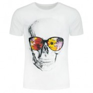 image of FLOWERS AND SKULL PRINTED SHORT SLEEVE T-SHIRT (WHITE) 2XL