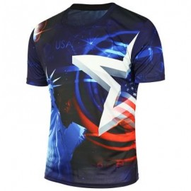 image of STATUE OF LIBERTY PRINTED AMERICAN FLAG T-SHIRT (BLUE) L