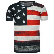 image of ROUND NECK DISTRESSED AMERICAN FLAG PRINT T-SHIRT (BLACK) M