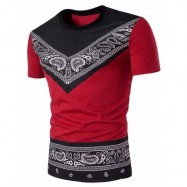 image of CREW NECK COLOR BLOCK TRIBAL PAISLEY PRINT T-SHIRT (RED) XL