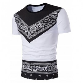 image of CREW NECK COLOR BLOCK TRIBAL PAISLEY PRINT T-SHIRT (WHITE) S