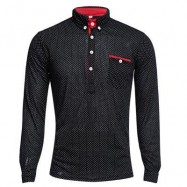 image of TRENDY STAND COLLAR LONG SLEEVE DOT PRINT SHIRT FOR MEN (BLACK) 2XL