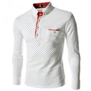 image of TRENDY STAND COLLAR LONG SLEEVE DOT PRINT SHIRT FOR MEN (WHITE) 2XL