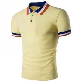 image of COLOR BLOCK COLLAR MEN POLO T-SHIRT (LIGHT YELLOW) L