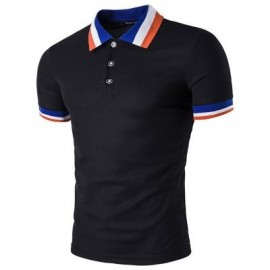 image of COLOR BLOCK COLLAR MEN POLO T-SHIRT (BLACK) M