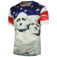 image of MOUNT RUSHMORE PRINTED AMERICAN FLAG TEE (COLORMIX) M