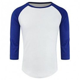 image of CREW NECK PANEL HALF RAGLAN SLEEVE T-SHIRT (BLUE AND WHITE) L
