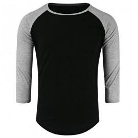 image of CREW NECK PANEL HALF RAGLAN SLEEVE T-SHIRT (BLACK AND GREY) 2XL