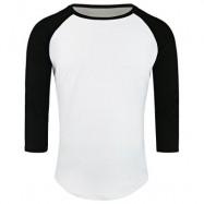 image of CREW NECK PANEL HALF RAGLAN SLEEVE T-SHIRT (WHITE AND BLACK) 2XL