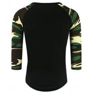 image of CREW NECK CAMOUFLAGE PANEL HALF RAGLAN SLEEVE T-SHIRT (BLACK) 2XL