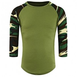 image of CREW NECK CAMOUFLAGE PANEL HALF RAGLAN SLEEVE T-SHIRT (ARMY GREEN) L