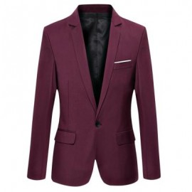 image of STYLISH PURE COLOR TURN DOWN COLLAR MALE SLIM FIT SUIT (CLARET M/L/XL/2XL/3XL) M