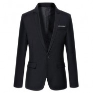 image of STYLISH PURE COLOR TURN DOWN COLLAR MALE SLIM FIT SUIT (BLACK M/L/XL/2XL/3XL) M