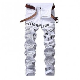 image of JOURNAL PRINT ZIP FLY JEANS (WHITE) 38