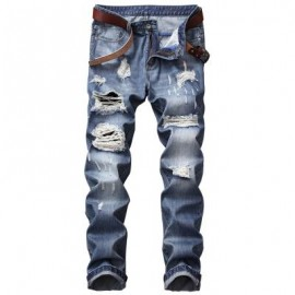 image of ZIPPER FLY STRAIGHT LEG BLEACHED EFFECT DISTRESSED JEANS (DENIM BLUE) 36