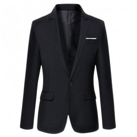 image of STYLISH PURE COLOR TURN DOWN COLLAR MALE SLIM FIT SUIT (BLACK) M