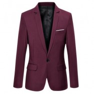 image of STYLISH PURE COLOR TURN DOWN COLLAR MALE SLIM FIT SUIT (CLARET) M