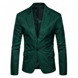 image of ONE BUTTON FLAP POCKET BLAZER (BLACKISH GREEN) L
