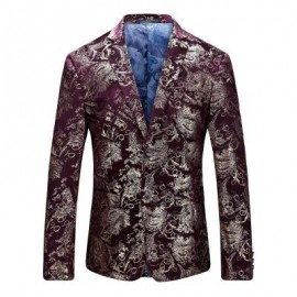 image of FLORAL GILDING SINGLE BREASTED BLAZER (WINE RED) 58