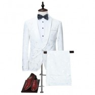 image of SHAWL COLLAR JACQUARD BLAZER AND PANTS TWINSET (WHITE) M