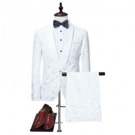 image of SHAWL COLLAR JACQUARD BLAZER AND PANTS TWINSET (WHITE) M