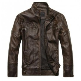 image of STAND COLLAR PANEL DESIGN PU LEATHER FLEECE JACKET (COFFEE) M