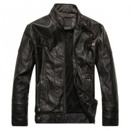 image of STAND COLLAR PANEL DESIGN PU LEATHER FLEECE JACKET (BLACK) 2XL