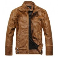 image of STAND COLLAR PANEL DESIGN PU LEATHER FLEECE JACKET (CLEMENTINE) M