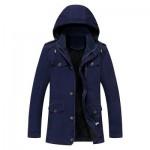 EPAULET DESIGN DETACHABLE HOOD FLOCKING COAT (DEEP BLUE) 2XL