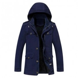 image of EPAULET DESIGN DETACHABLE HOOD FLOCKING COAT (DEEP BLUE) 2XL