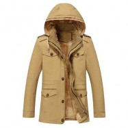 image of EPAULET DESIGN DETACHABLE HOOD FLOCKING COAT (KHAKI) 2XL