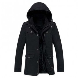 image of EPAULET DESIGN DETACHABLE HOOD FLOCKING COAT (BLACK) 2XL