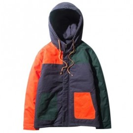 image of COLOR BLOCK PANEL ZIP UP PADDED JACKET (JACINTH) M