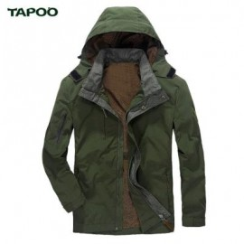 image of TAPOO CASUAL SOLID COLOR ZIPPER DESIGN MALE HOODED COAT M