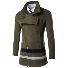 image of TURNDOWN COLLAR OBLIQUE SINGLE BREASTED STIRPE WOOL COAT (ARMY GREEN) 3XL