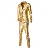 image of FASHIONABLE SHINNY BLAZER + PANTS TWINSET SUITS FOR MEN (GOLDEN) M