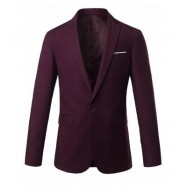 image of ONE BUTTON LAPEL SLIM CASUAL BLAZER (WINE RED) 3XL