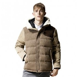 image of FASHION THICK WARM MEN'S HOODED COAT MALE JACKET COAT (KHAKI) 3XL