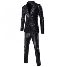 image of FASHIONABLE SHINNY BLAZER + PANTS TWINSET SUITS FOR MEN (BLACK) 2XL