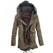 image of HOODED DOUBLE ZIP UP PADDED PARKA COAT (DARK KHAKI) 5XL