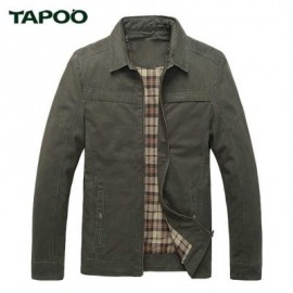 image of TAPOO CASUAL ZIPPER DESIGN TURN-DOWN COLLAR MALE LONG SLEEVE JACKET 2XL