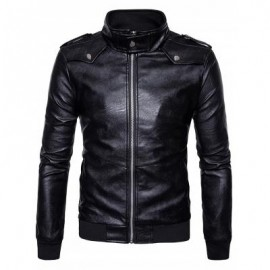 image of ZIP UP EPAULET FAUX LEATHER BOMBER JACKET (BLACK) M