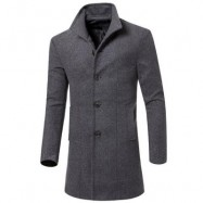 image of MEN PEACOAT STAND COLLAR BREASTED TRENCH COAT (GRAY) M